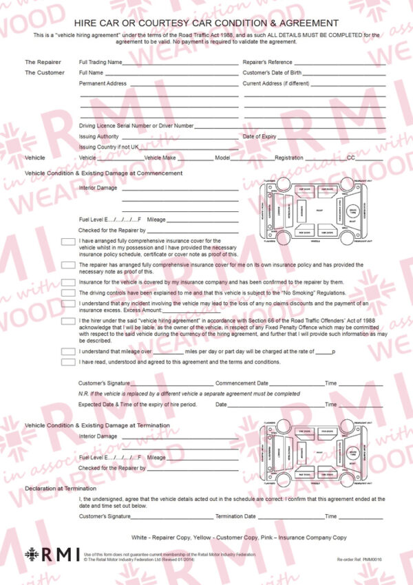 Hire Car Agreement Forms